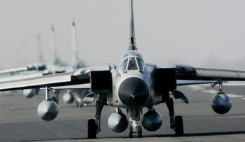 In this April 2, 2007 file photo Tornado jets with a loaded Recce-Pod taxi to the runway at the German Air Force base of Schleswig near Jagel, northern Germany.