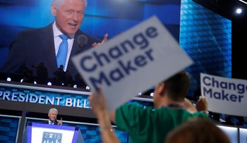 Former U.S. President Bill Clinton speaks during the second night at the Democratic National Convention in Philadelphia, Pennsylvania, U.S. July 26, 2016.
