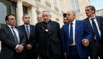 Religious leaders speak to journalists after a meeting with the French President at the Elysee Palace in Paris, France, July 27, 2016.