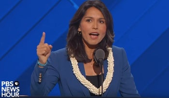 Hawaii's Tulsi Gabbard officially nominates Bernie Sanders for president at the DNC.