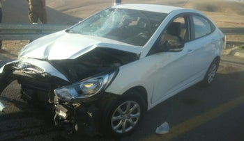 Image of a smashed car after a car-ramming attack in West Bank settlement Kfar Adumim, November 27, that left two soldiers mildly wounded.