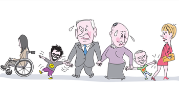 A cartoon depicting Prime Minister Benjamin Netanyahu and Minister Naftali Bennett as parents to two naughty children: Knesset members Oren Hazan, who is pointing and laughing at a woman in a wheel chair, and Yinon Magal, who is slapping another woman's backside.