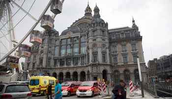 Antwerp's central train station under police inspection over a suspicious package on June 18, 2016.