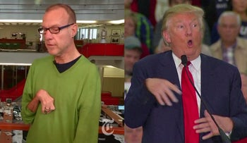 A screenshot of a side-by-side comparison of Serge Kovaleski and Donald Trump.