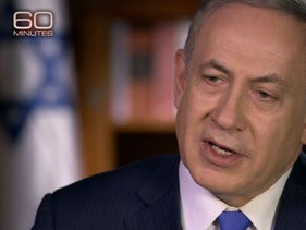 "Prime Minister Benjamin Netanyahu during his interview with CBS' Leslie Stahl on ""60 Minutes."""
