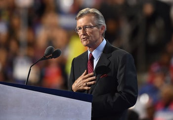 Retired Rear Admiral John Hutson speaks during the third evening session of the Democratic National Convention at the Wells Fargo Center in Philadelphia, Pennsylvania, July 27, 2016.