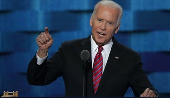 US Vice President Joe Biden delivers remarks on the third day of the Democratic National Convention at the Wells Fargo Center, July 27, 2016