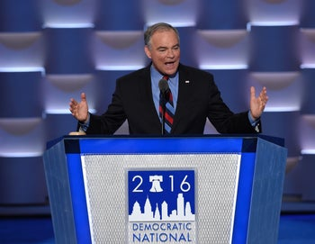US Democratic Nominee for Vice President Tim Kaine speaks during the Democratic National Convention at the Wells Fargo Center in Philadelphia, Pennsylvania, July 27, 2016.