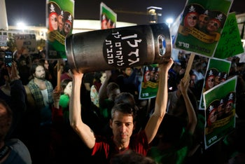 Thousands of Israeli's protest controversial natural gas deal across Israel. November 28, 2015.