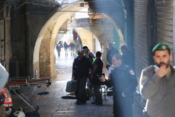 The scene of the stabbing near Damascus Gate, November 29, 2015.