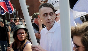 """White nationalists, neo-Nazis and members of the """"alt-right"""" during the United the Right rally in Charlottesville, Virginia, August 12, 2017."""
