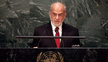 Iraq's Foreign Minister Ibrahim al-Jaafari addresses the 2015 Sustainable Development Summit at the United Nations headquarters, September 27, 2015.