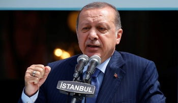Turkish President Tayyip Erdogan makes a speech during the re-opening of the Ottoman-era Yildiz Hamidiye mosque in Istanbul, Turkey, August 4, 2017.