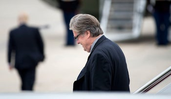 File photo: Steve Bannon walking off Air Force One, May 13, 2017.