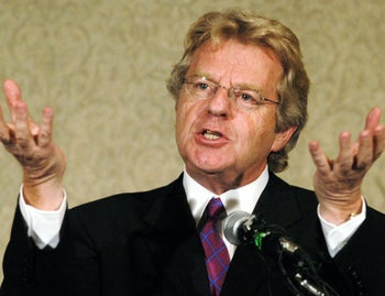 Jerry Springer announcing that he will not seek the Democratic nomination for the U.S. Senate seat held by Republican George Voinovich, during a news conference Wednesday, Aug. 6, 2003, in Columbus, Ohio.