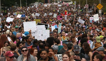 Thousands of protesters prepare to march in Boston against a planned 'Free Speech Rally', August 19 2017