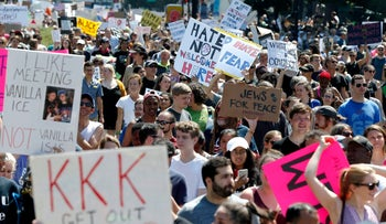Counter-protesters against the 'Free Speech Rally' in Boston, Massachusetts, on August 19, 2017.