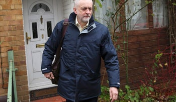 Britain's opposition Labor Party leader Jeremy Corbyn leaving his home in north London, November 30, 2015.