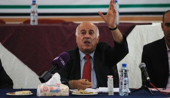 Palestinian Football Association President Jibril Rajoub announcing a decision to postpone the Palestinian cup final, July 30, 2016.