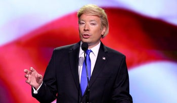 Jimmy Fallon impersonates Donald Trump on 'The Tonight Show Starring Jimmy Fallon,' in New York, U.S., July 19, 2016.