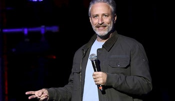 In this Tuesday, Nov. 10, 2015, file photo, comedian Jon Stewart performs at the 9th Annual Stand Up For Heroes event, in New York.  HBO is scrapping a web-delivered satirical project it was developing with Stewart