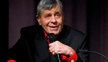 Comedian Jerry Lewis speaks at the Encore Original premiere of 'Method to the Madness of Jerry Lewis' in Los Angeles, December 7, 2011.