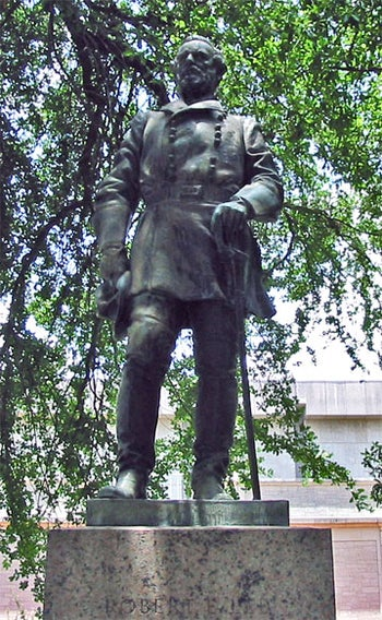 Statue of Confederate General Robert E. Lee at the University of Texas at Austin.