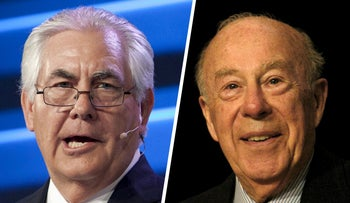 ExxonMobil Chairman and CEO Rex Tillerson and former US Secretary of State George Shultz.