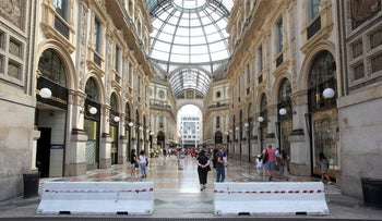 Barriers to prevent vehicles from entering the Galleria Vittorio Emanuele II in Milan, August 19, 2017.