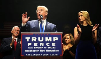 Donald Trump and his daughter Ivanka Trump attend a campaign rally in Manchester, New Hampshire, November 7,  2016.