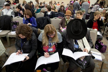 """A session at this week's """"Shedding Light on the Darkness of Abuse"""" conference in Jerusalem, which offers sessions for Orthodox and ultra-Orthodox Jews from around the world on dealing with taboo subjects."""