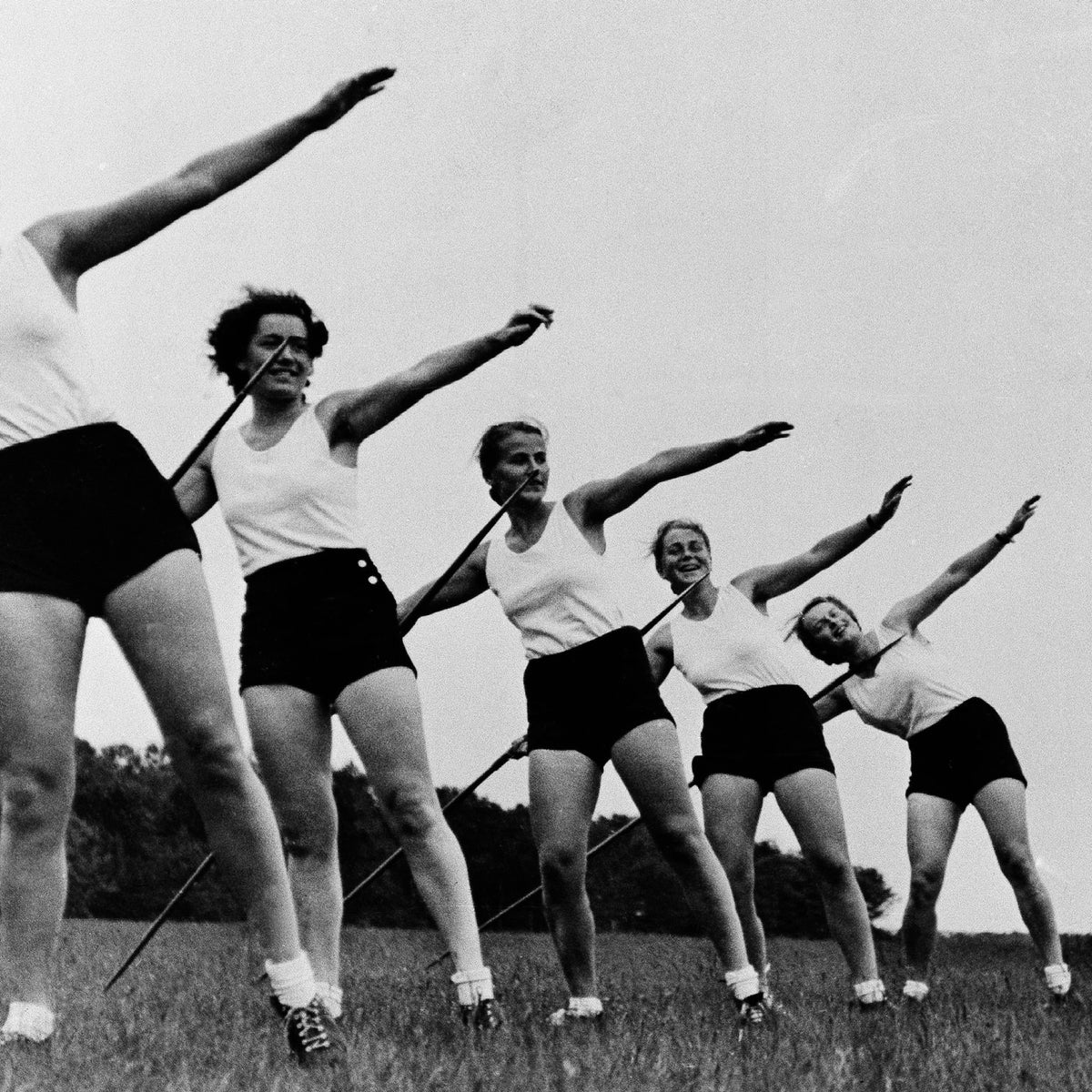 German girls shown in physical training at the Reich's Colonial School for Women, in this undated photo, Rendsburg, Germany.