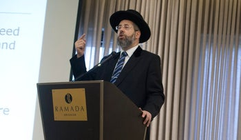 "Chief Rabbi David Lau addressing participants at this week's conference on ""Shedding Light on the Darkness of Abuse"" in Jerusalem. Rabbis and teachers should not ""cross the line"" into inappropriate behavior, he said,"