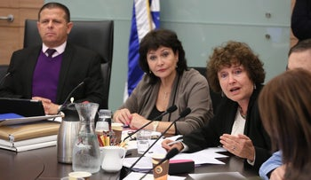 Bank of Israel governor Karnit Flug discussing Israel's natural gas plan with the Knesset's Economic Affairs Committee.