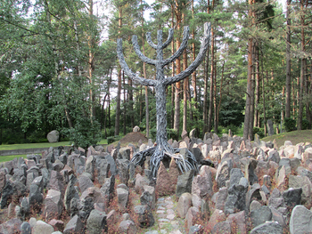 The memorial of the Rumbula forest massacre, where 25,000 Jews were executed.