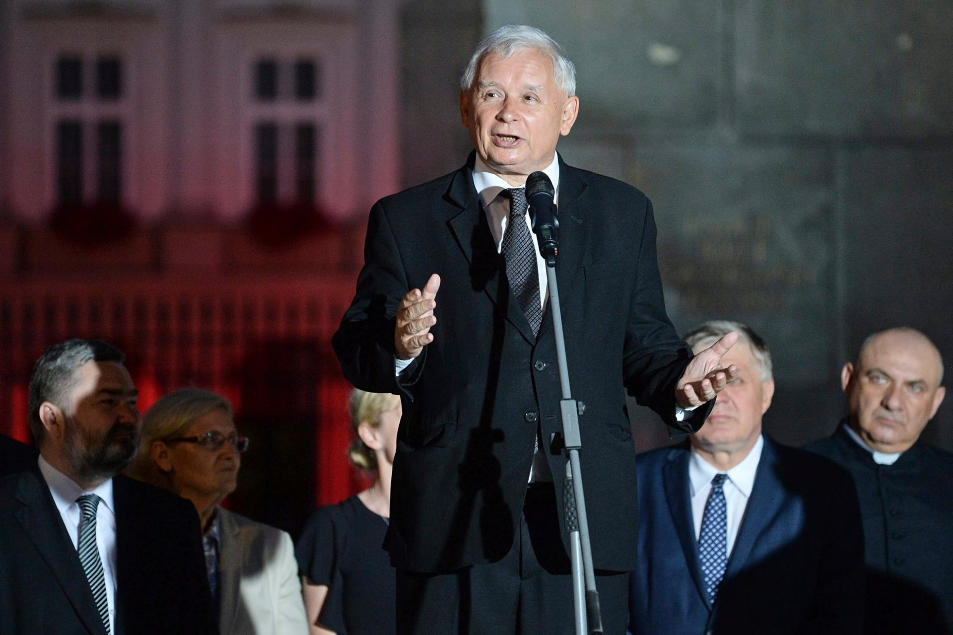Jaroslaw Kaczynski, leader of the now-ruling Law and Justice party, speaks in front of the Presidential Palace, in Warsaw, Poland, Aug. 10, 2017.