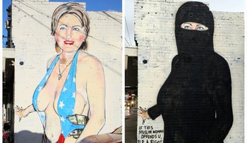 Two versions, painted July 31 (L) and August 1 (R), of a mural painted by street artist Lushsux in a suburb of Melbourne, Australia.