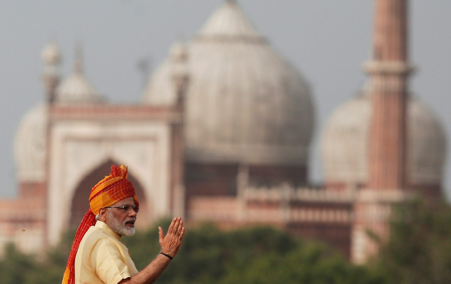 Indian Prime Minister Narendra Modi gestures as he addresses the nation from the historic Red Fort during Independence Day celebrations in Delhi, India August 15, 2017.