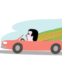 Sayed Kashua drives a red convertible with a giant ear of corn in the passenger's seat.