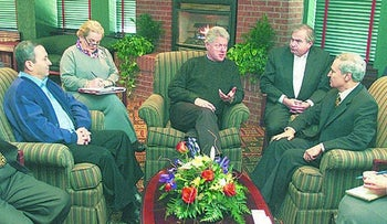 Sandy Berger flanks Bill Clinton during talks with Israeli Prime Minister Ehud Barak and Syrian Foreign Minister Farqouq al-Shara in Shepherdstown, January 7, 2000.