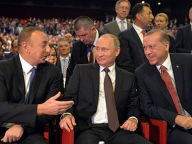 Azeri President Ilham Aliyev, Russian President Vladimir Putin and Turkish President Tayyip Erdogan attend a session of the World Energy Congress in Istanbul, Turkey, October 10, 2016.