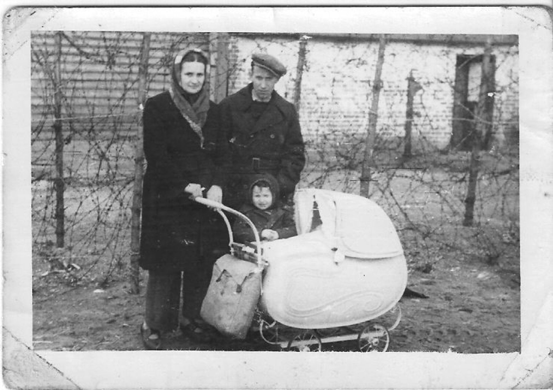 Galia Ashkenazi as a baby with her parents and sister in a German displaced persons camp, 1947.