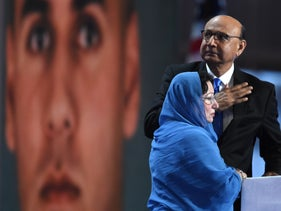 Khizr Khan gestures as his wife looks on during the final day of the Democratic National Convention in Philadelphia, Pennsylvania, U.S., July 28, 2016.