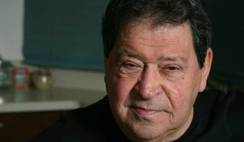 Close-up photo of Benjamin Ben-Eliezer, during his time as infrastructure minister in 2006.