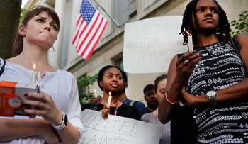 Students and activists attend a rally in support of Black Lives Matter in Washington, D.C., July 8, 2016.