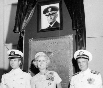 In this 1961 file photo, then-Lt. John S. McCain III, left, and his parents, Rear Adm. John S. McCain Jr. and Roberta Wright McCain, take part in the ceremony to commission McCain Field, the U.S. Navy training base named in honor of Adm. John S. McCain, in photo at top, respectively grandfather and father to the two McCains.