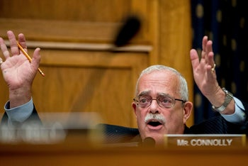 House Foreign Affairs Committee member Rep. Gerald Connolly, D-Va. questions U.S. Ambassador to the UN Nikki Haley, on Capitol Hill in Washington, June 28, 2017.