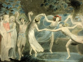 """""""We foot it all the night,"""" dancing fairies by William Blake."""
