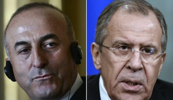This combination of pictures created on December 03, 2015 shows a file taken on July 27, 2015 in Lisbon, of Turkish foreign minister Mevlut Cavusoglu (L) and a file taken on November 27, 2015 in Moscow of Russian Foreign Minister Sergei Lavrov.