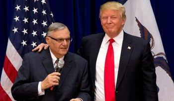 File photo: Donald Trump and Joe Arpaio in Marshalltown, Iowa on Jan 26, 2016.